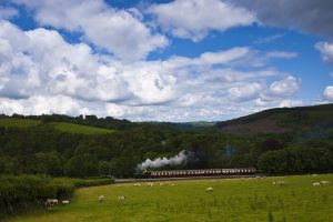 6435 heritage steam engine passing through the valley under a blue sky, at Charlie's Gate, Bodmin Railway